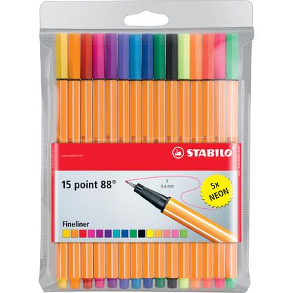 STABILO Fineliner point 88, 15er Kunststoff-Etui, Neonfarben