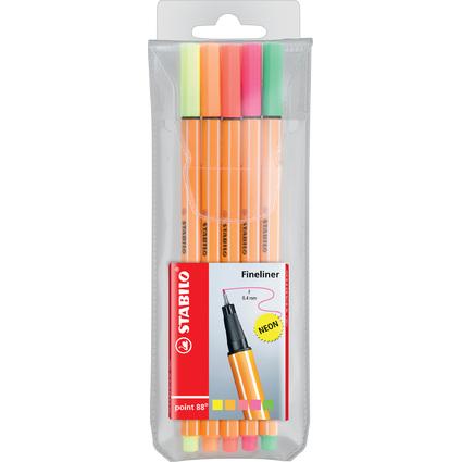 STABILO Fineliner point 88, 5er Kunststoff-Etui, Neonfarben