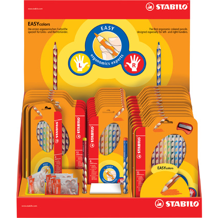 STABILO Dreikant-Buntstifte EASYcolors / Spitzer, im Display