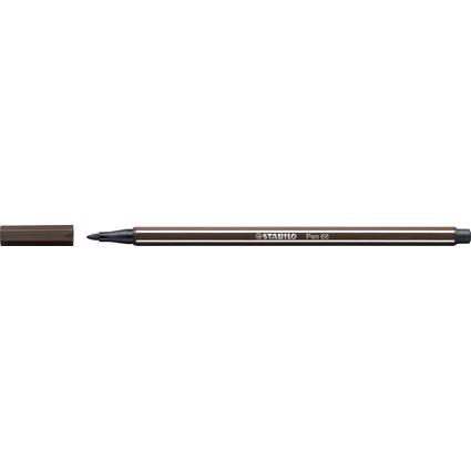 STABILO Fasermaler Pen 68, Strichstärke: 1,0 mm, umbra
