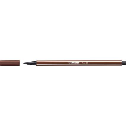 STABILO Fasermaler Pen 68, Strichstärke: 1,0 mm, braun