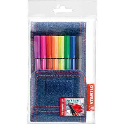 STABILO Fasermaler Pen 68 Mini Jeans Edition, 8er Etui