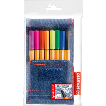STABILO Fineliner point 88 Mini Jeans Edition, 8er Etui