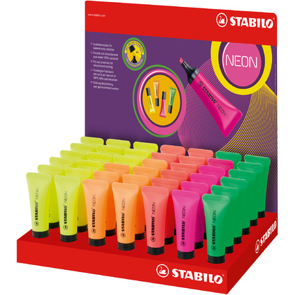 STABILO Textmarker NEON, 42er Karton-Display