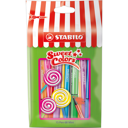 STABILO Fasermaler Pen 68 Mini Sweet Colors, 15er Tüte