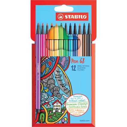 STABILO Fasermaler Pen 68, 12er Karton-Etui