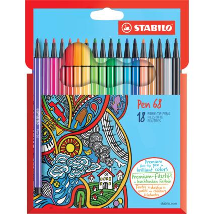STABILO Fasermaler Pen 68, 18er Karton-Etui