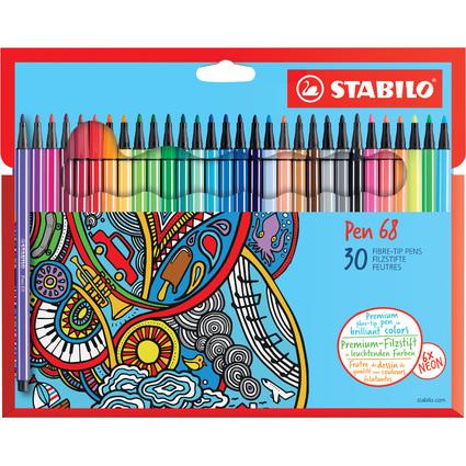 STABILO Fasermaler Pen 68, 30er Karton-Etui