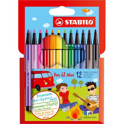 STABILO Fasermaler Pen 68 Mini, 12er Karton-Etui