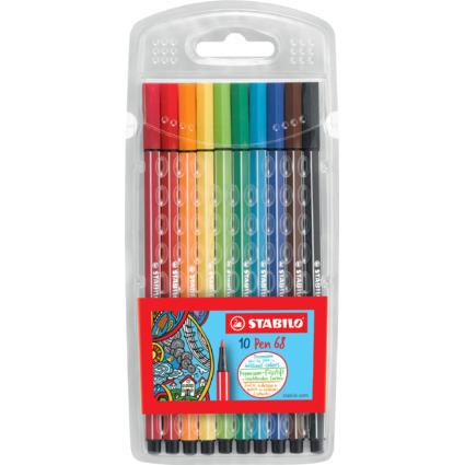 STABILO Fasermaler Pen 68, 10er Kunststoff-Etui