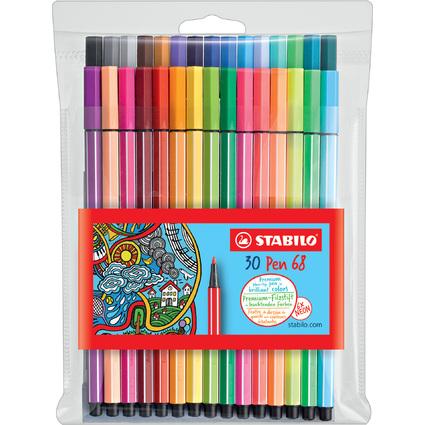 STABILO Fasermaler Pen 68, 30er Kunststoff-Etui