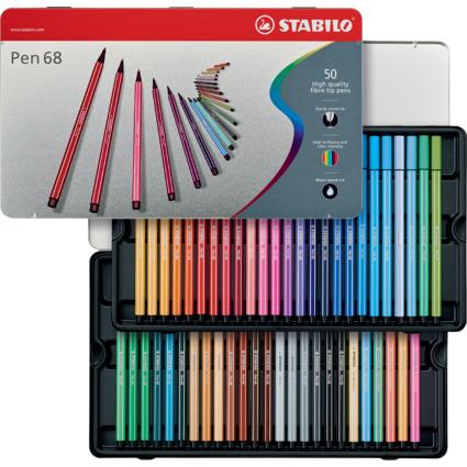 STABILO Fasermaler Pen 68, 50er Metall-Etui