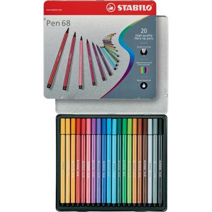 STABILO Fasermaler Pen 68, 20er Metall-Etui