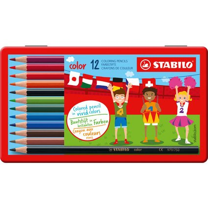 STABILO Buntstifte color, sechseckig, 12er Metall-Etui