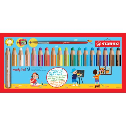STABILO Multitalentstift woody 3 in 1, 18er Karton-Etui