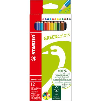 STABILO Buntstifte GREENcolors, 12er Karton-Etui