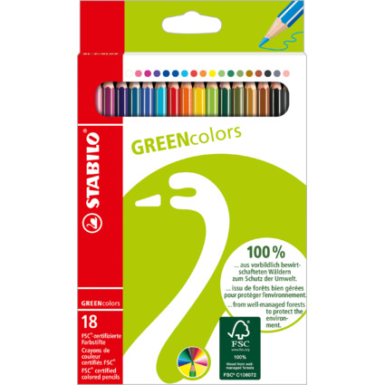 STABILO Buntstifte GREENcolors, 18er Karton-Etui