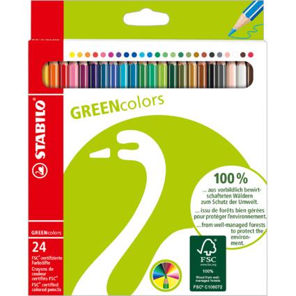 STABILO Buntstifte GREENcolors, 24er Karton-Etui