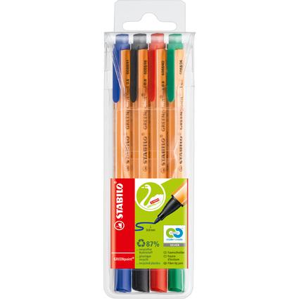 STABILO Fasermaler GREENpoint, 4er Kunststoff-Etui