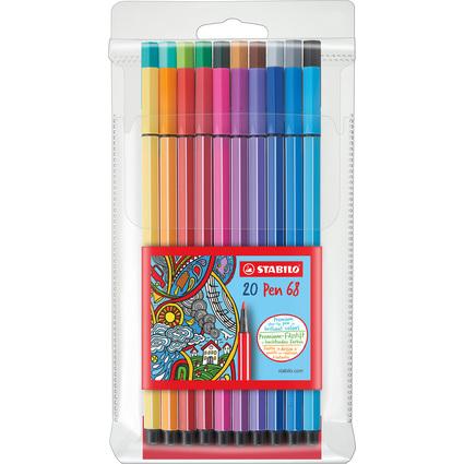STABILO Fasermaler Pen 68, 20er Kunststoff-Etui