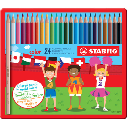 STABILO Buntstifte color, sechseckig, 24er Metall-Etui