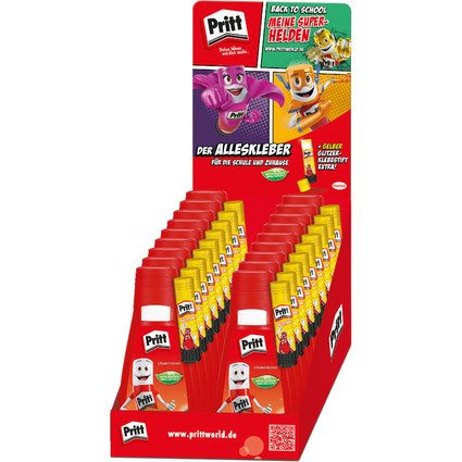 Pritt Alleskleber + gratis Glitter-Klebestift, 18er Display