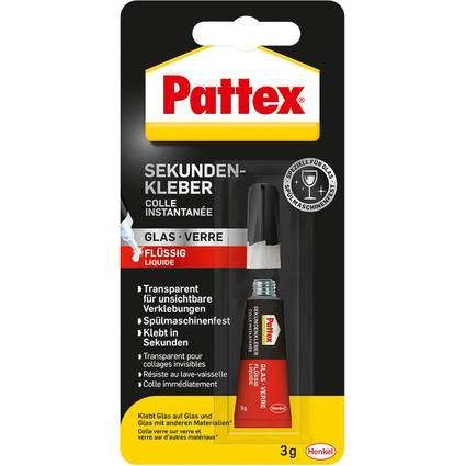 Pattex Sekundenkleber Glas flüssig, 3 g Tube