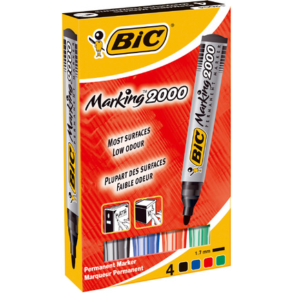 BIC Permanent-Marker 2000 Ecolutions, Rundspitze, 4er Etui
