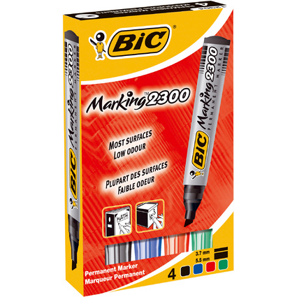 BIC Permanent-Marker 2300 Ecolutions, Keilspitze, 4er Etui