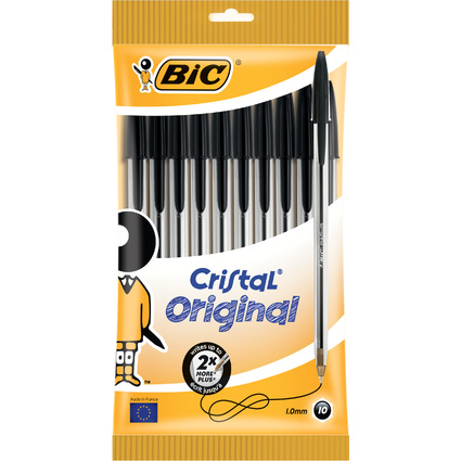 BIC Kugelschreiber Cristal Original, schwarz, im 10er Beutel