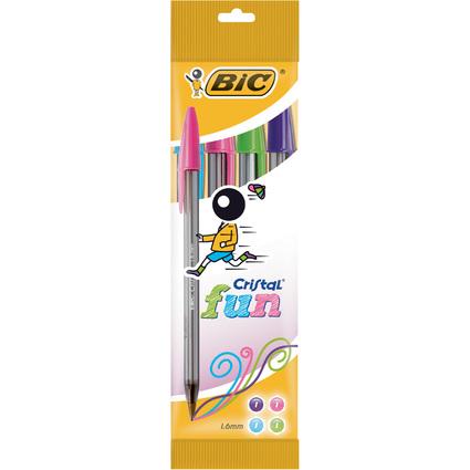 BIC Kugelschreiber Cristal Fun, 4er Beutel