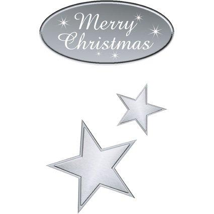 "sigel Weihnachts-Sticker ""Silver Greetings"", auf Rolle"