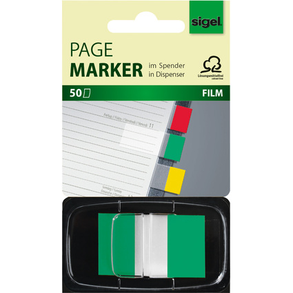"sigel Haftstreifen ""Z-Marker"" Film Color-Tip, grün, 50 Blatt"