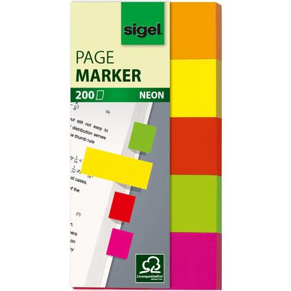 sigel Haftmarker Neon, 50 x 20 mm, 200 Blatt