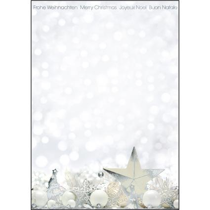 "sigel Weihnachts-Motiv-Papier ""White Stars"", A4, 90g/qm"