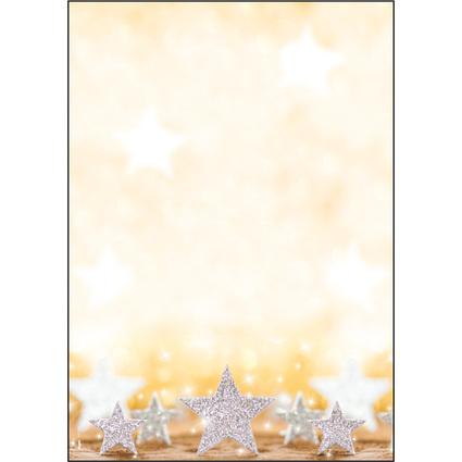 """sigel Weihnachts-Motiv-Papier """"Glitter Stars"""", A4, 90 g/qm"""