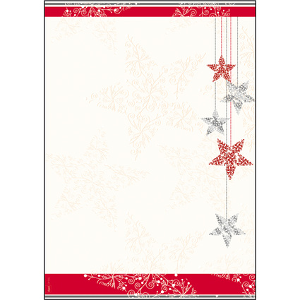 """sigel Weihnachts-Motiv-Papier """"Starlets"""", A4, 90 g/qm"""