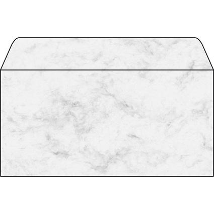 sigel Umschlag, DIN lang, 90 g/qm, gummiert, Marmor grau