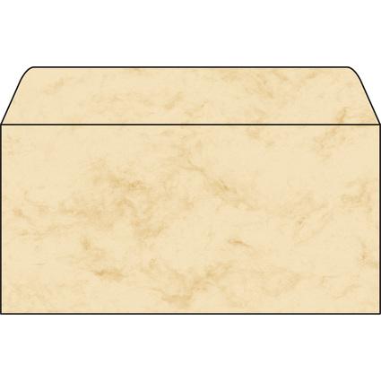 sigel Umschlag, DIN lang, 90 g/qm, gummiert, Marmor beige