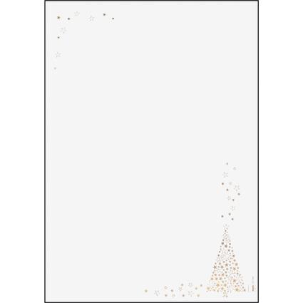 """sigel Weihnachts-Motiv-Papier """"Golden Tree"""", A4, 90 g/qm"""