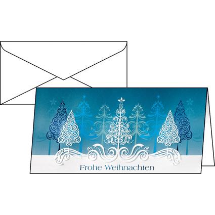 """sigel Weihnachtskarte """"Blue Trees"""", DIN lang (2/3 A4)"""