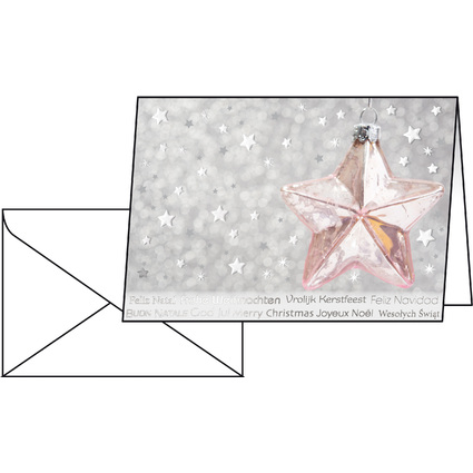 "sigel Weihnachtskarte ""Rose Star"", A6 (A5)"
