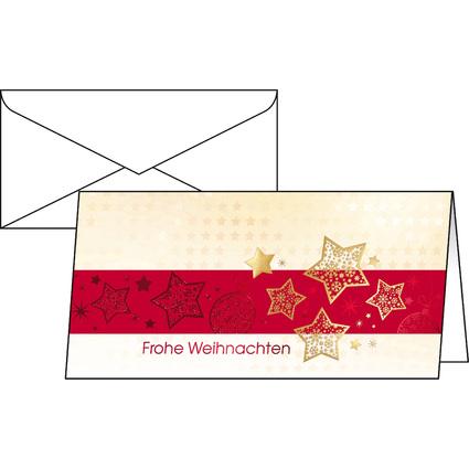 "sigel Weihnachtskarte ""Golden Stars"", DIN lang (2/3 A4)"