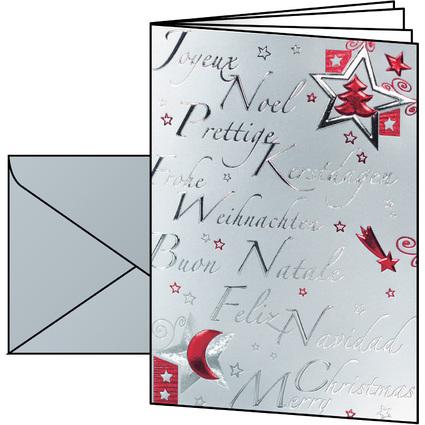 "sigel Weihnachtskarte ""Silver Star"", A6 (A5)"