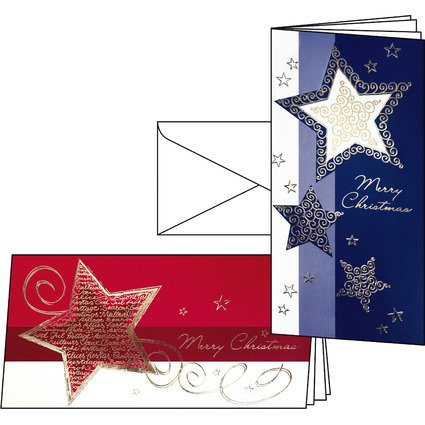 sigel Weihnachtskarten-Set, DIN lang (2/3 A4), 2 Motive