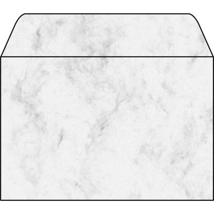 sigel Umschlag, C6, 90 g/qm, gummiert, Marmor grau