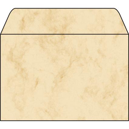 sigel Umschlag, C6, 90 g/qm, gummiert, Marmor beige