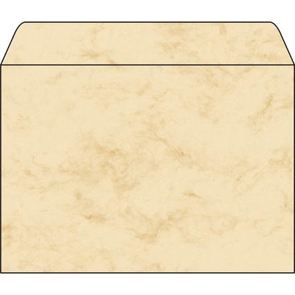 sigel Umschlag, C5, 90 g/qm, gummiert, Marmor beige