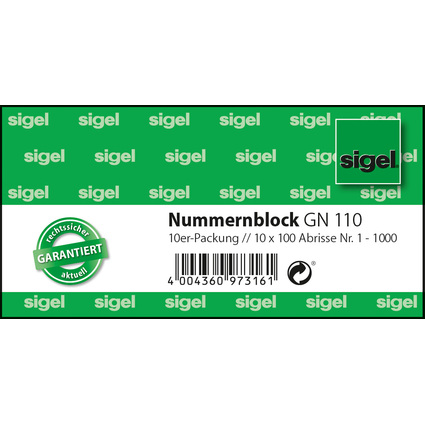 sigel Nummernblock 1-1000, 105 x 50 mm