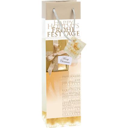 """sigel Weihnachts-Flaschentüte """"Golden Shimmer"""""""